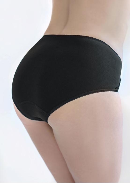 01-158 Женские трусики-слипы с высокой талией Marsana - черный - вид сзади