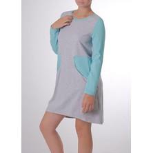 03-031 Домашнее платье с длинным рукавом Marsana Меланж-изумруд