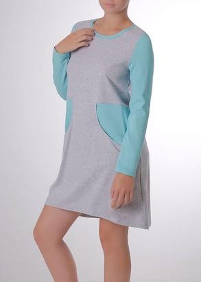 03-031 Домашнее платье с длинным рукавов Marsana Меланж-изумруд