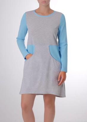 03-031 Домашнее платье с длинным рукавом Marsana Меланж-лазурь