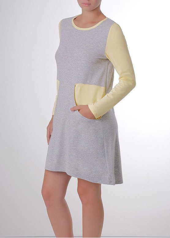 03-031 Домашнее платье с длинным рукавом Marsana Меланж-ваниль