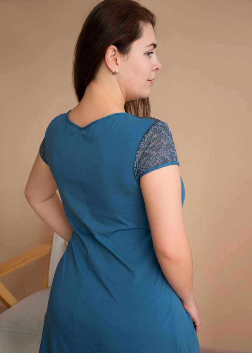03-075 Ночная сорочка большого размера из хлопка Marsana Индиго
