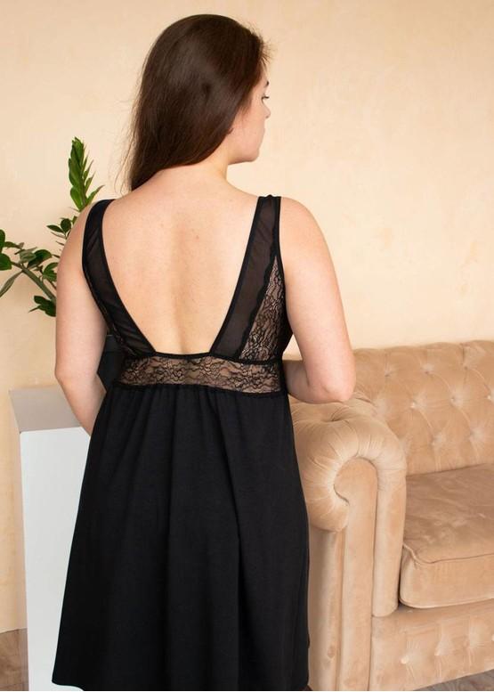 03-076 Хлопковая ночная сорочка большого размера Marsana Черный