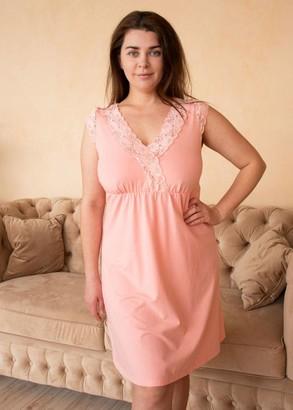 03-077 Хлопковая ночная сорочка большого размера Marsana Персик