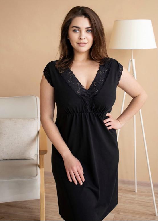 03-077 Хлопковая ночная сорочка большого размера Marsana Черный