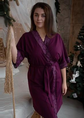 08-003 Жіночий халат бавовняний Marsana Вино