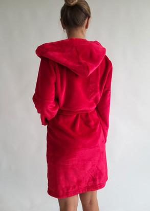 08-005 Женский халат большого размера из велсофта с карманами Marsana Красный чили