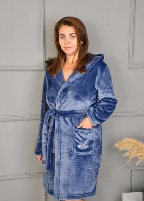 08-005 Женский халат большого размера из велсофта с карманами Marsana Синий