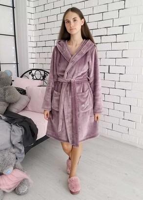08-005 Жіночий халат великого розміру з велсофта з кишенями Marsana Димчаста орхідея