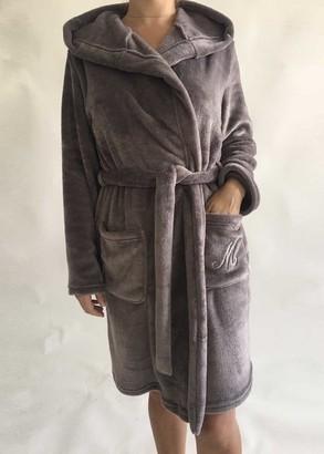 08-005 Женский халат большого размера из велсофта с карманами Marsana Миндаль