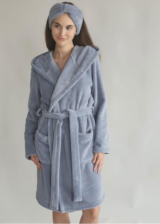 08-005 Женский халат большого размера из велсофта с карманами Marsana Муссон