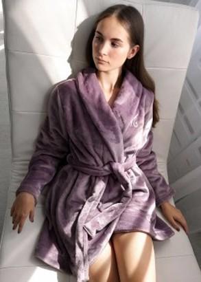 08-009 Женский халат большого размера из велсофта Marsana Дымчатая орхидея