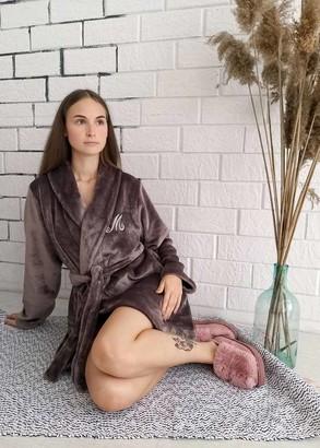 08-009 Женский халат большого размера из велсофта Marsana Миндальный