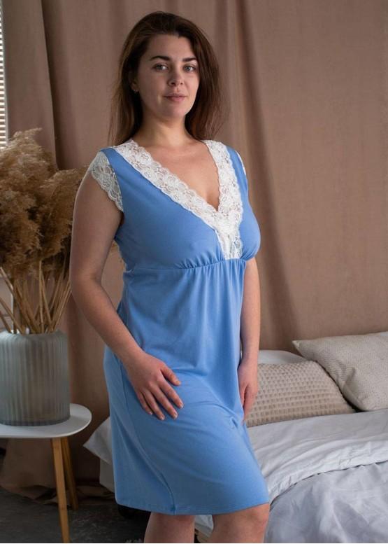 03-077 Хлопковая ночная сорочка большого размера Marsana Небесный-шампань