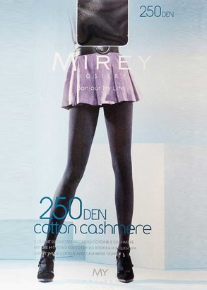 0250 Женские колготки большого размера из хлопка и кашемира Mirey Cotone Cashmere Nero 250 Den Черный