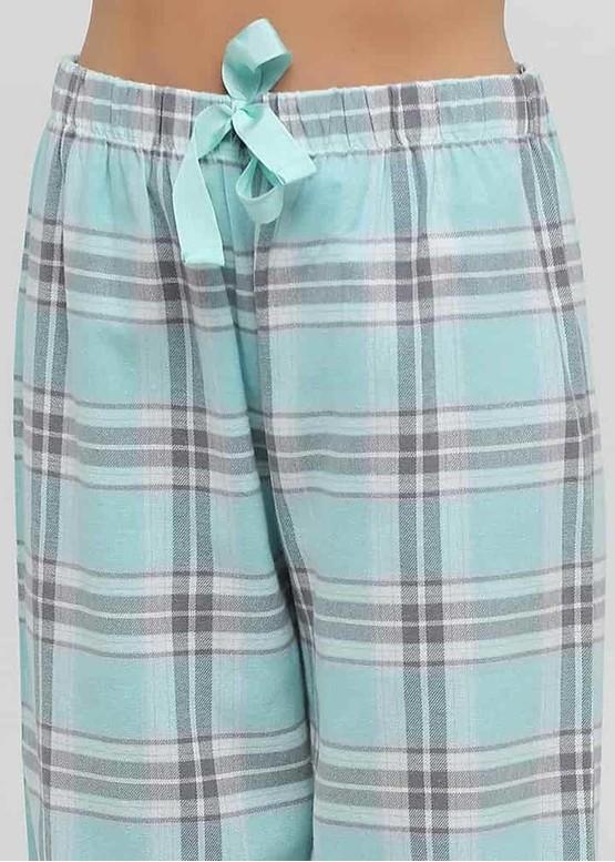 04-001 Женская байковая пижама: рубашка и длинные штаны Naviale Аква