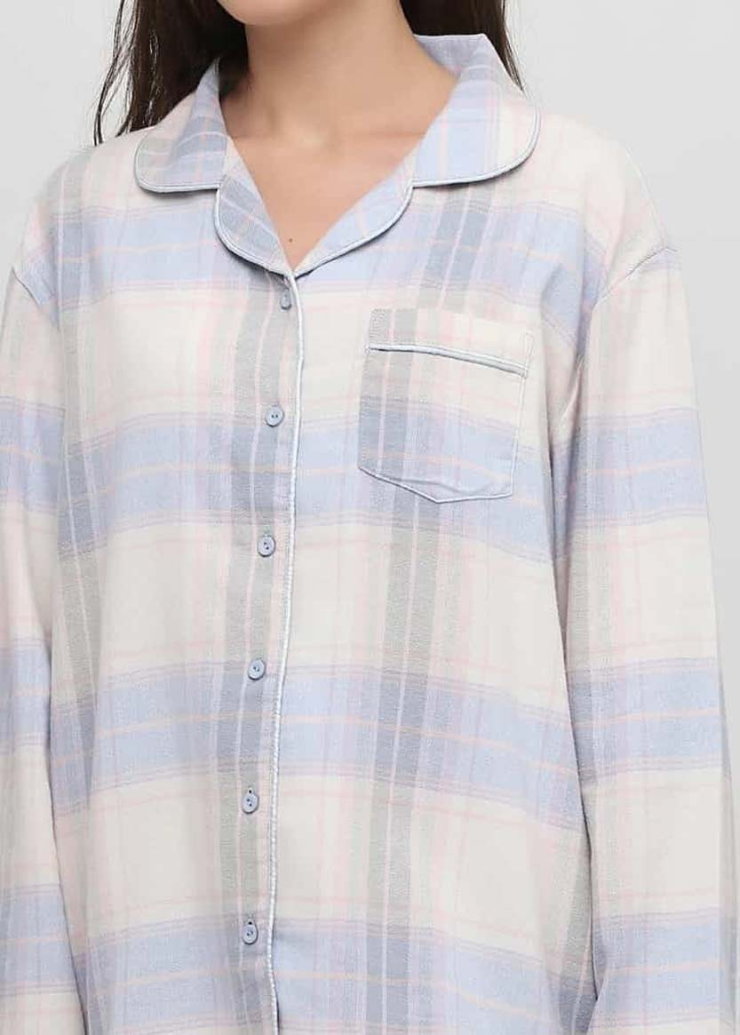 04-001 Женская байковая пижама: рубашка и длинные штаны Naviale Голубой