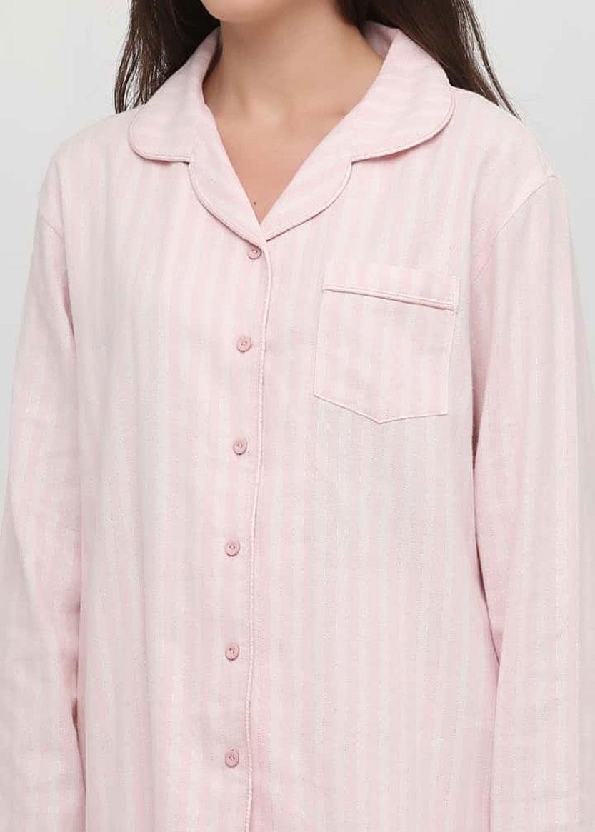 04-001 Женская байковая пижама: рубашка и длинные штаны Naviale Лотос