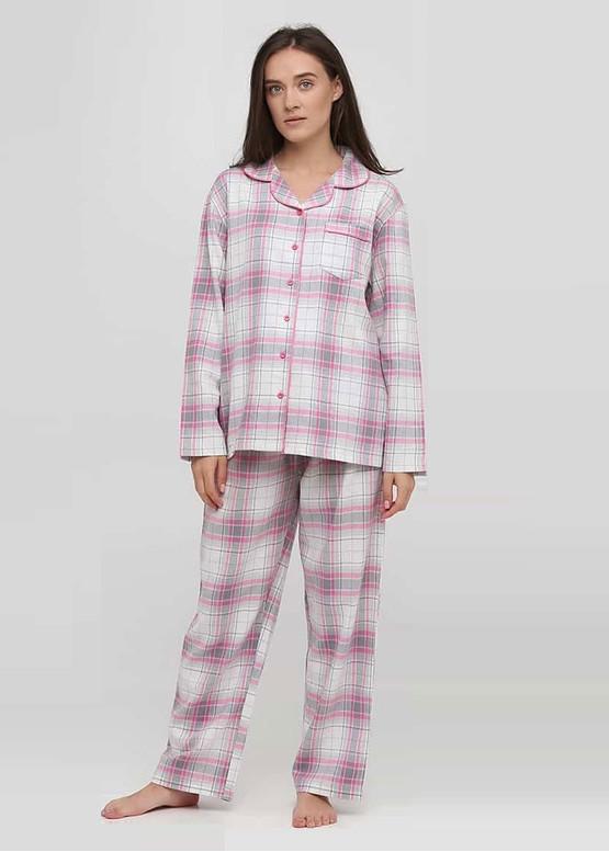 04-001 Женская байковая пижама: рубашка и длинные штаны Naviale Розовая клетка