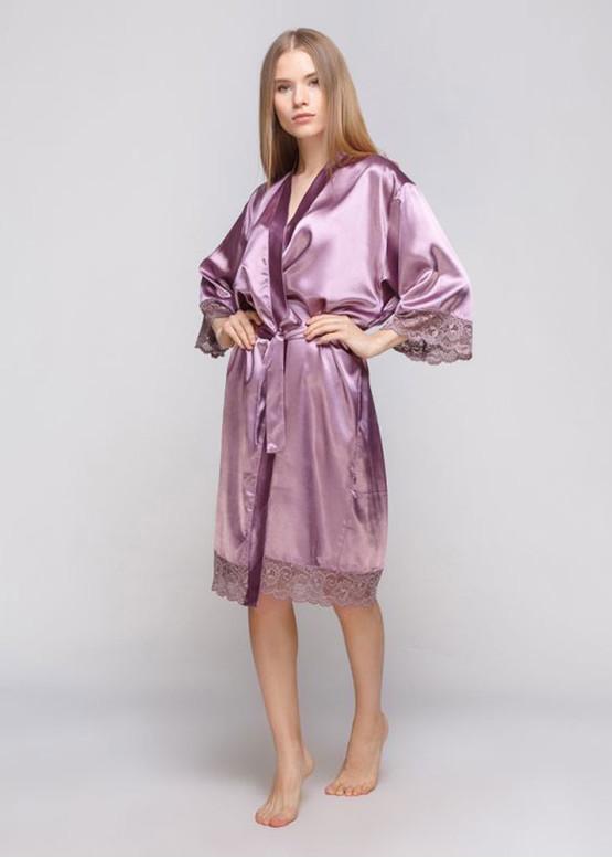 1011 Женский атласный халат большого размера Serenade Сливовый
