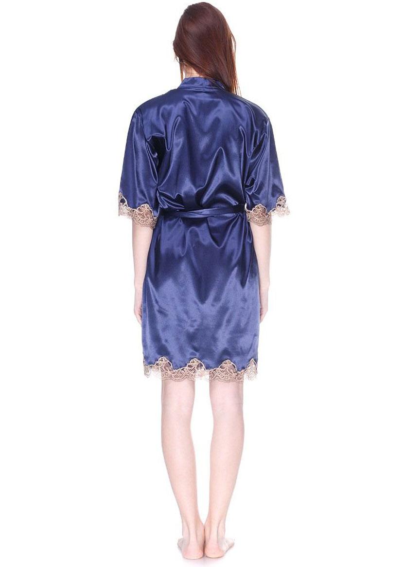 1041 Женский атласный халат большого размера Serenade Синий
