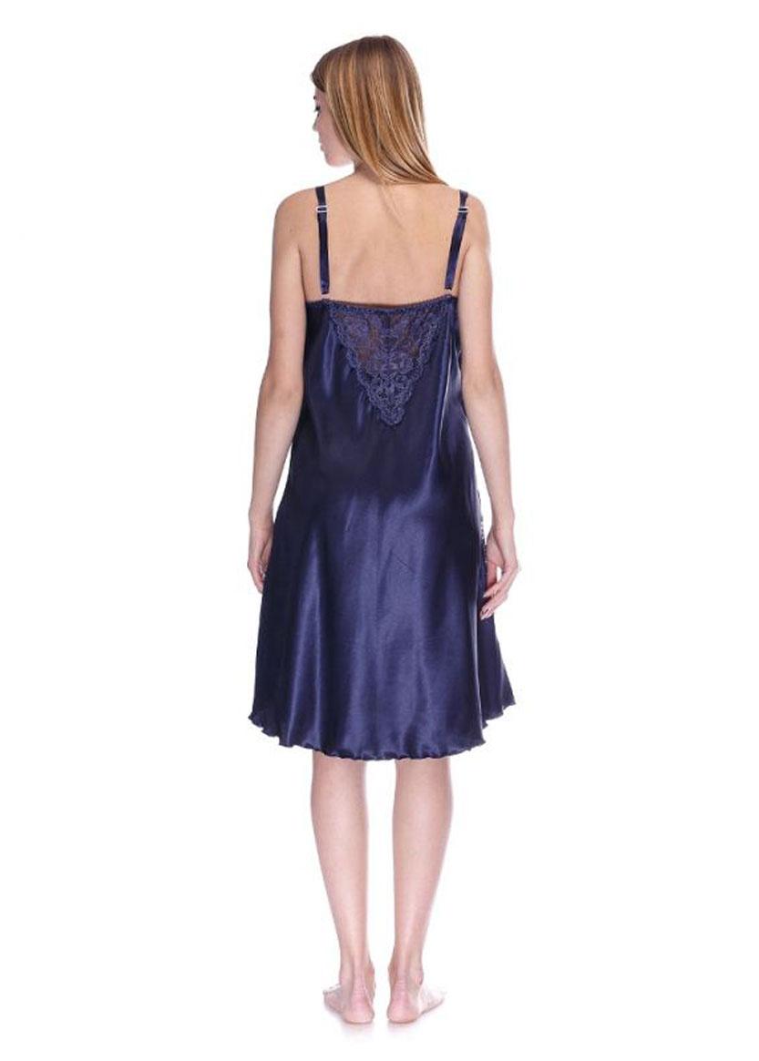 1042 Женская атласная сорочка большого размера Serenade Синий