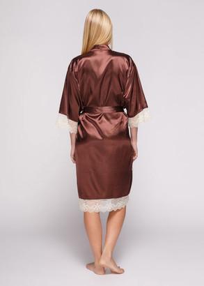 1051 Женский атласный халат большого размера Serenade Коричневый