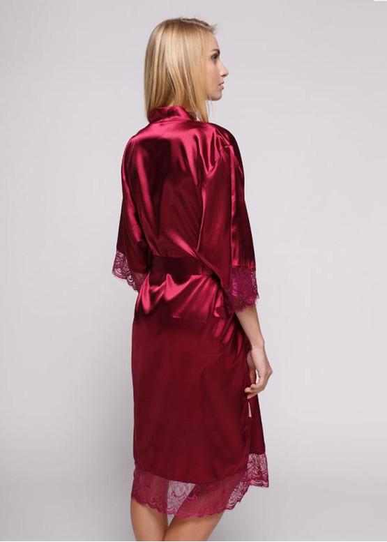1211 Женский шелковый халат большого размера Serenade Бордовый