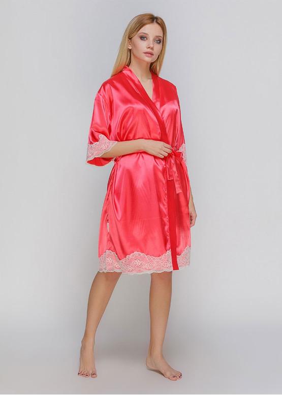 1301 Женский атласный халат большого размера Serenade Коралловый