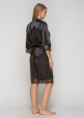 1401 Жіночий атласний халат великого розміру Serenade Чорний