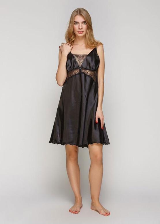 1402 Женская атласная сорочка большого размера Serenade Черный