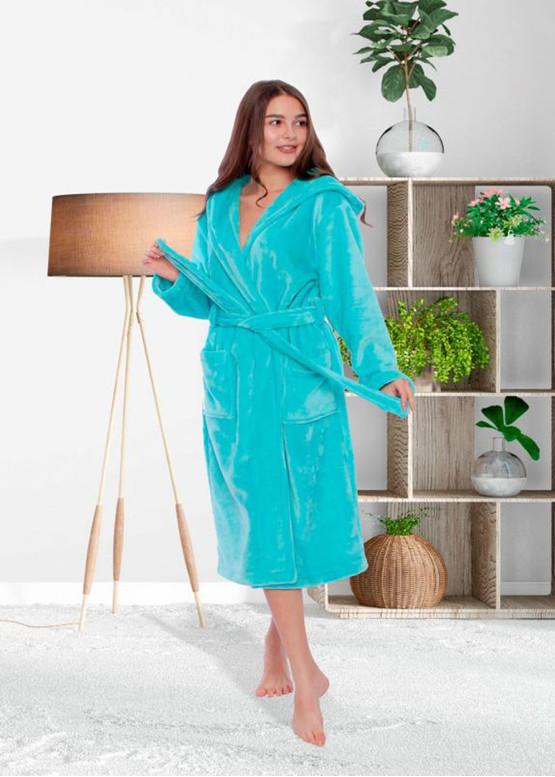 16 Женский халат большого размера из велсофта Serenade Бирюзовый