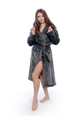 17 Женский халат большого размера из велсофта Serenade Серый