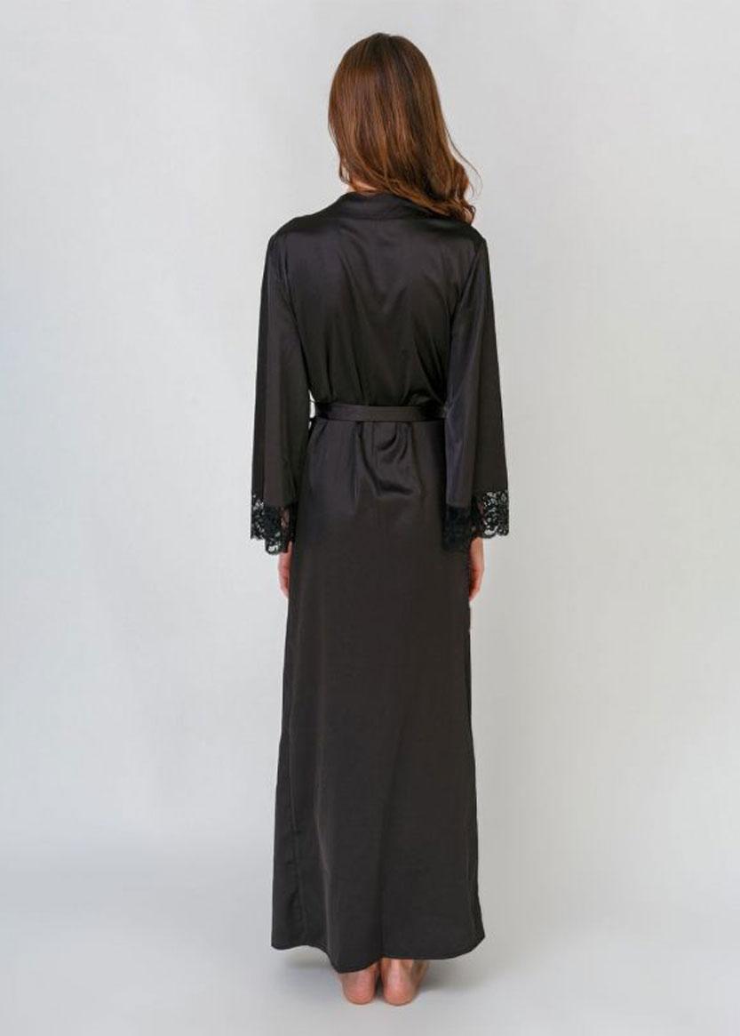 791 Длинный шелковый пеньюар большого размера Serenade Черный
