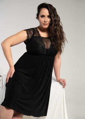 1344 Женская ночная сорочка больших размеров Shato Черный