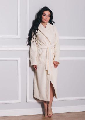 1533 Женский халат из велсофта с карманами Shato Экрю