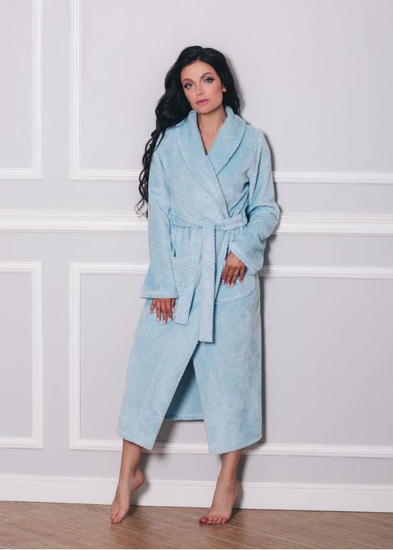 1533 Женский халат из велсофта с карманами Shato Голубой