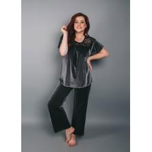 1545 Велюровый костюм (блузон и брюки) Shato Темно-серый