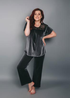 1545 Велюровый костюм (блузон и брюки) TM Shato Темно-серый