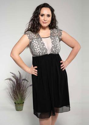 1642 Женская ночная сорочка большого размера Shato Черный с белым