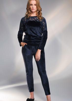 1731 Женский велюровый костюм большого размера Shato Синий