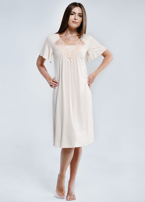 1834 Женская сорочка большого размера из вискозы Shato Лососевый