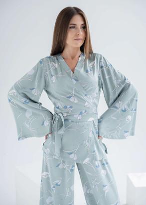 1904 Женская шелковая пижама Shato Оливковый