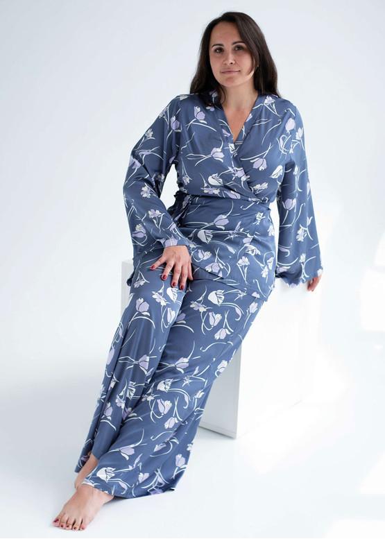 1904 Женская шелковая пижама Shato Синий