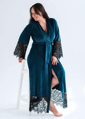 1931 Женский велюровый халат Shato Бирюзовый