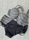 246 Женский купальник-бикини большого размера с уплотненной чашкой Shato Черно-белый